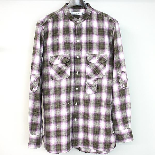 【中古】nonnative ノンネイティブ 18SS GARDENER SHIRT COTTON TWILL OMBRE オンブレチェックバンドカラーシャツ メンズ ブラウン 2