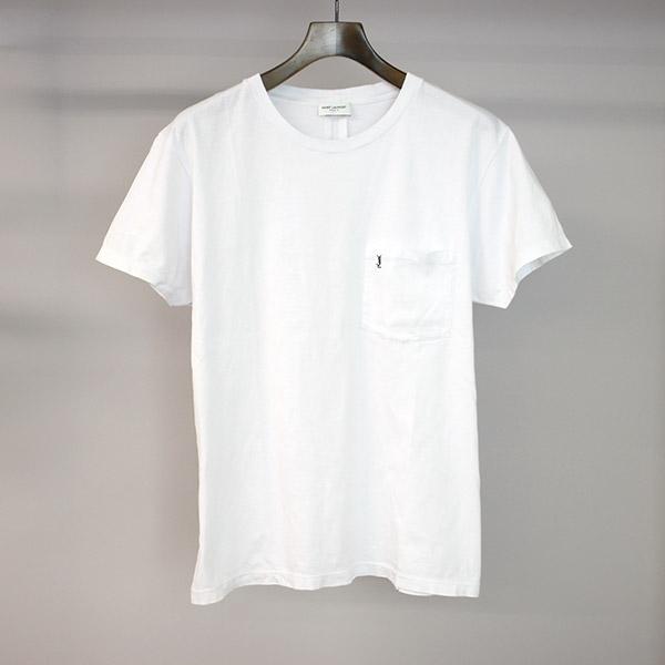 【中古】SAINT LAURENT PARIS サンローラン パリ 16SS YSL刺繍ポケットTシャツ メンズ ホワイト L