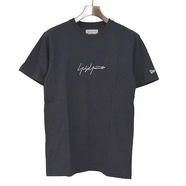 【中古】Yohji Yamamoto POUR HOMME ヨウジヤマモト プールオム x NEWERA ニューエラ 17AW シグネチャーロゴ刺繍Tシャツ メンズ ブラック 3