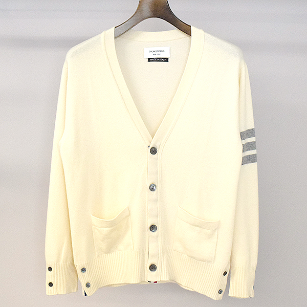 439104f297ff THOM BROWNE Tom Browne 3 line cashmere knit cardigan men ivory XL