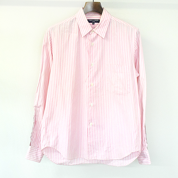 【中古】COMME des GARCONS HOMME コムデギャルソンオム 10AW ストライプラインコットンシャツ メンズ ピンク S