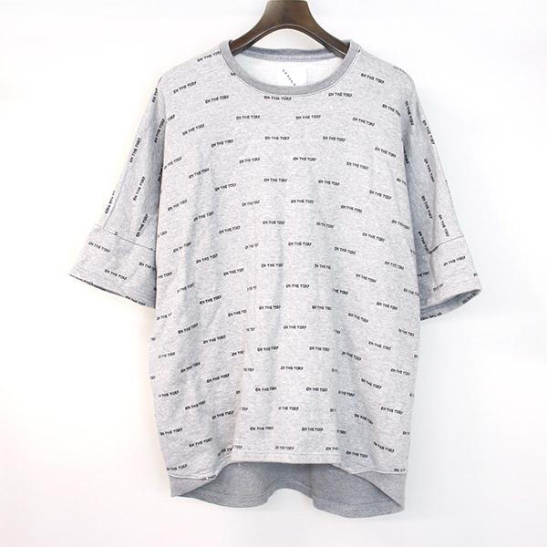 【中古】ON THE TURF オンザターフ 18SS ロゴプリントスウェットTシャツ メンズ グレー L
