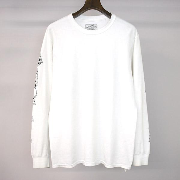 【中古】WACKO MARIA ×NECK FACE ワコマリア ×ネックフェイス PARADISE TOKYO 3周年記念 グラフィックプリントロングスリーブTシャツ メンズ ホワイト M
