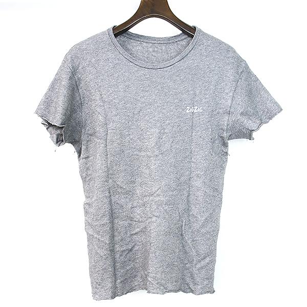 【中古】The Elder Statesman ジ エルダーステイツマン ZiGZAG シルク混カシミヤニットTシャツ グレー M メンズ