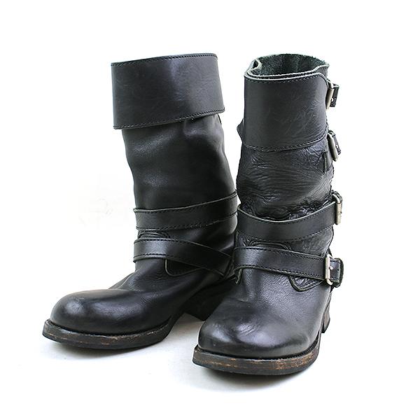 【中古】JUNYA WATANABE COMME des GARCONS MAN ジュンヤワタナベ コムデギャルソン マン 07AW ベルトデザインレザーエンジニアブーツ メンズ ブラック S 27cm 27.5cm