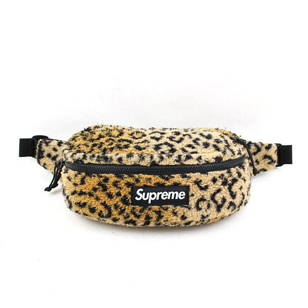 【中古】Supreme シュプリーム 17AW Leopard Fleece Waist Bag レオパード柄フリースウエストバッグ メンズ オレンジ