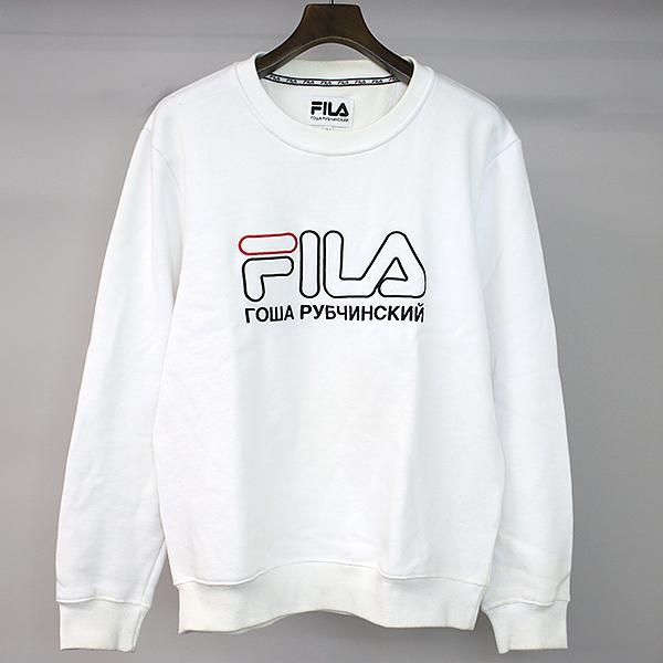 【中古】gosha rubchinskiy×FILA ゴーシャラブチンスキー×フィラ 17SS ロゴ刺繍スウェットトレーナー/M/WHT メンズ ホワイト M