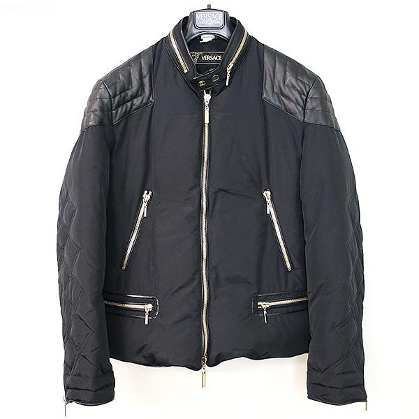 【中古】VERSACE ヴェルサーチ 09AWショルダーラムレザー中綿ナイロンライダースジャケット ブラック 50 メンズ