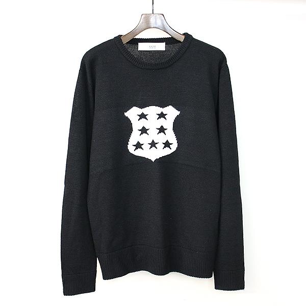 【中古】AKM contemporary エイケイエム コンテンポラリー ジャガードニットセーター ブラック XL メンズ