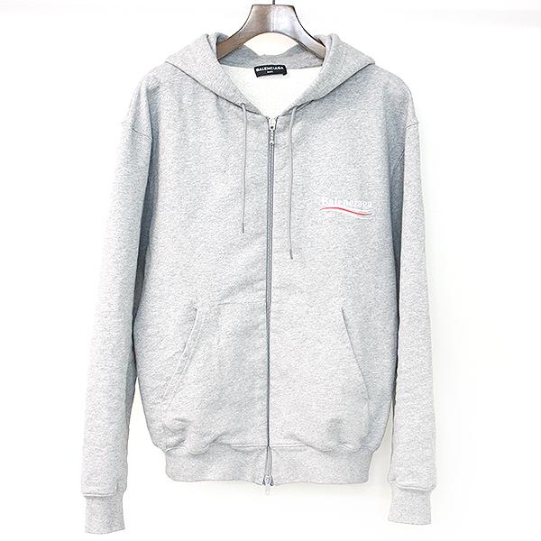 3d4689d22b BALENCIAGA バレンシアガ 17AW Campaign Logo Zip Hoodie campaign logo print zip up  parka gray M men ...