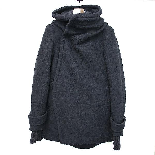 【中古】NUDE masahiko maruyama マサヒコ マルヤマ レイヤードウールフーデッドコート ブラック 44 メンズ