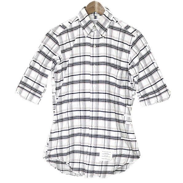 【中古】THOM BROWNE トムブラウン チェック柄半袖シャツ ホワイト 0 メンズ