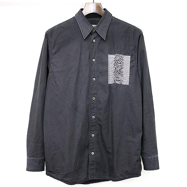 【中古】RAF SIMONS ラフシモンズ 03AW closer期 Joy Division「UNKNOWN PLEASURES」刺繍シャツ ブラック 46 メンズ