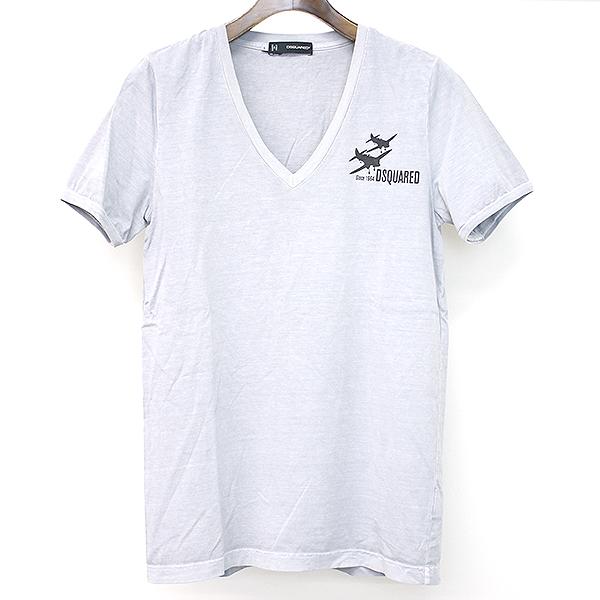 【中古】DSQUARED2 ディースクエアード 12SS 飛行機プリントVネックTシャツ グレー S メンズ