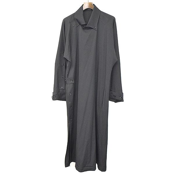 【中古】Yohji Yamamoto POUR HOMME ヨウジヤマモトプールオム 17AW LOOK40 ウールギャバジンチャンパオドレスコート ブラック 1 メンズ