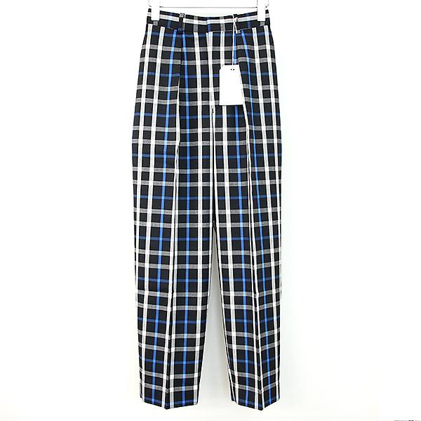 【中古】markaware マーカウエア 19SS HOUSE CHECK PANTS チェック柄トラウザーパンツ ブラック×ブルー 1 メンズ