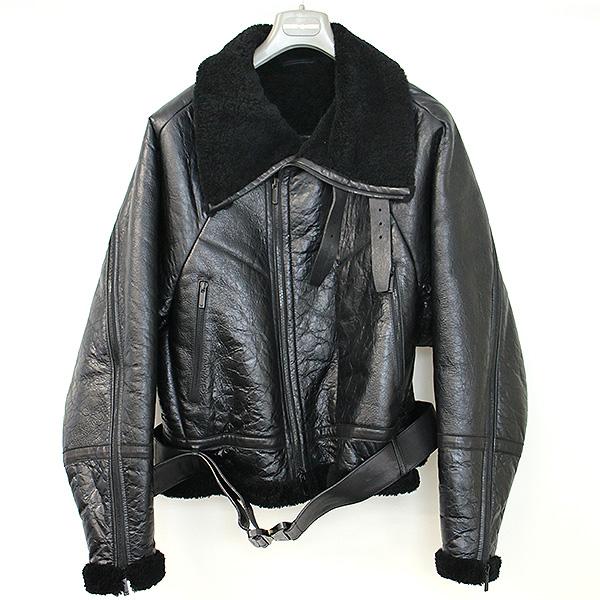【中古】EMPORIO ARMANI エンポリオアルマーニ 17AWレザームートンライダースジャケット ブラック 48 メンズ