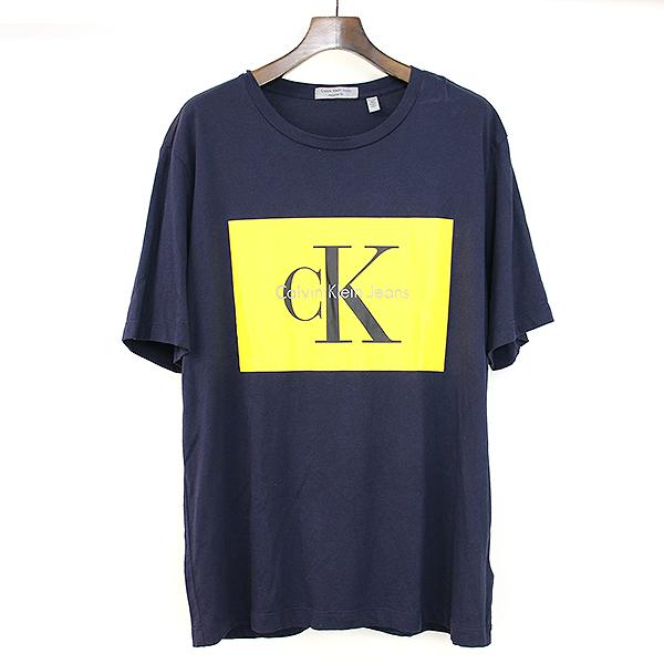 f86a837b623c Calvin Klein Jeans Calvin Klein jeans 18SS REGULAR FIT box logo print T-shirt  navy ...