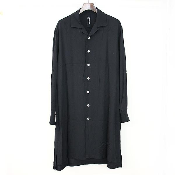 【中古】Ground Y グラウンドワイ 17SS スーパーレーヨンツイルロングシャツ ブラック 3 メンズ