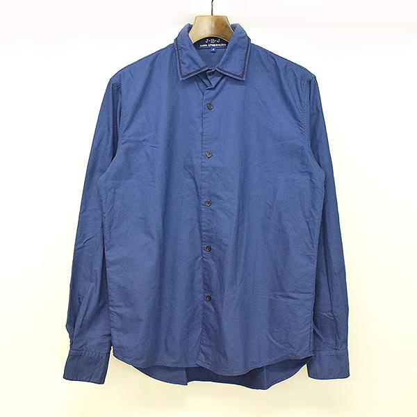 【中古】jupe-by-jackie ジュップバイジャッキー HAND ENBROIDERED 17AW 手刺繍ブルーカラー長袖シャツ ネイビー M メンズ