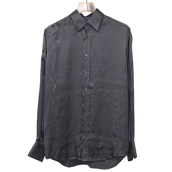 【中古】DOLCE&GABBANA ドルチェ&ガッバーナ シルクドレスシャツ ブラック 39 メンズ