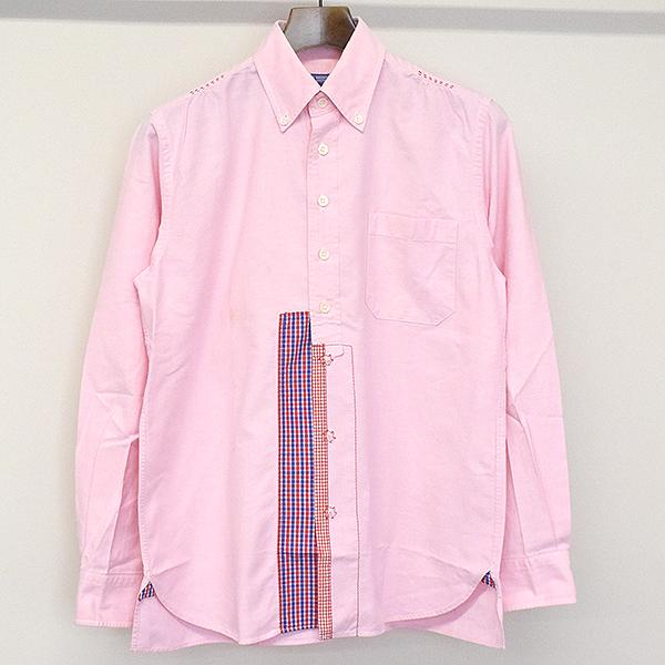 【中古】JUNYA WATANABE COMME des GARCONS MAN ジュンヤワタナベ コムデギャルソン パッチワークスナップシャツ ピンク XS メンズ