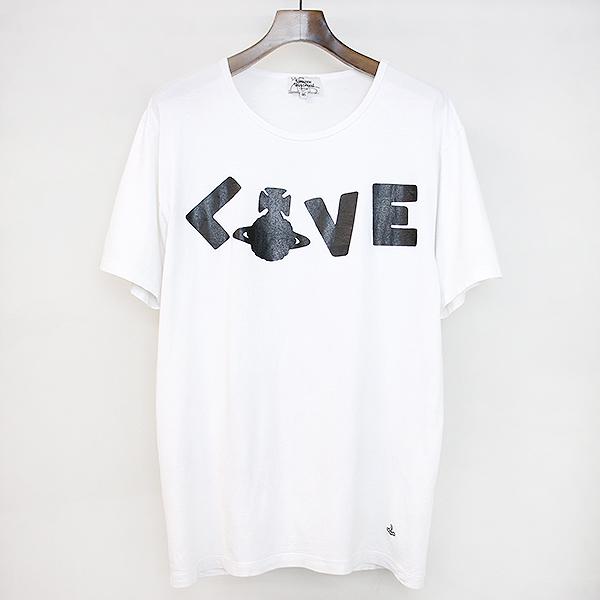 【中古】VivienneWestwood MAN ヴィヴィアンウエストウッド マン LOVEオーブプリントTシャツ ホワイト 46 メンズ