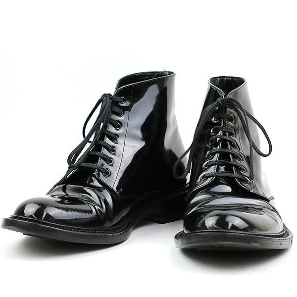 【中古】SAINT LAURENT PARIS サンローラン パリ ガラスレザーレースアップブーツ ブラック 42(27cm程度) メンズ