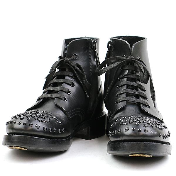 【中古】DSQUARED2 ディースクエアード スタッズ装飾レースアップブーツ ブラック 41(26cm程度) メンズ