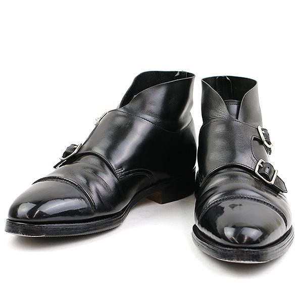 【中古】JOHN LOBB ジョン ロブ WILLIAM 2 ダブルモンクストラップレザーブーツ ブラック 7 1/2(26cm程度) メンズ