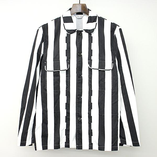 【中古】UNUSED アンユーズド 14SS コットンストライプシャツジャケット ブラック ホワイト 2 メンズ