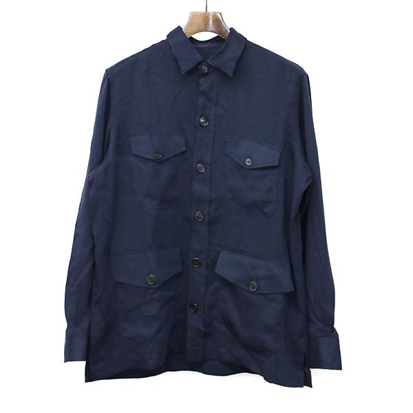 【中古】Errico Formicola エッリコフォルミコラ ALBERTO テンセルミリタリーシャツ ネイビー 48 メンズ