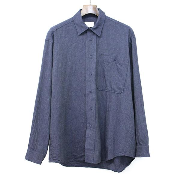 【中古】TONSURE トンシュア OVERSIZE SHIRT W COVERED BUTTONS オーバーサイズシャツ ネイビー 48 メンズ