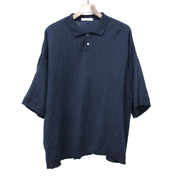 【中古】YASHIKI ヤシキ 18SS Mikage Knit Polo ニットポロシャツ ネイビー 3 メンズ