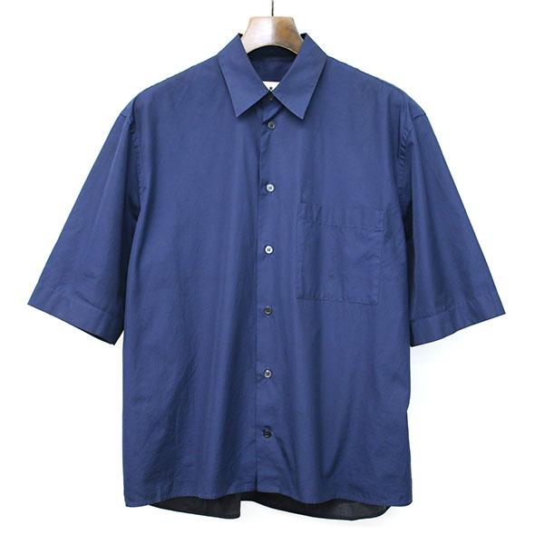 【中古】MARNI マルニ 2トーンコットンポプリンショートスリーブシャツ ネイビー 46 メンズ