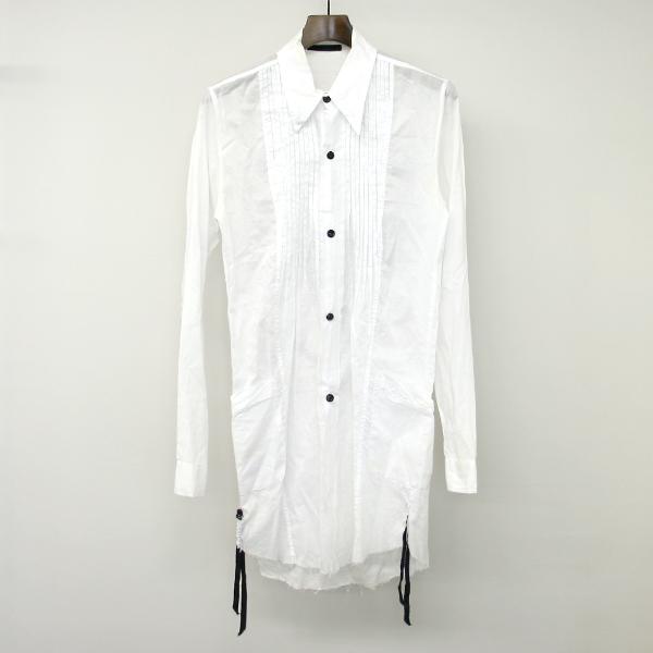 【中古】KMRII ケムリ 13SS LAYERED SIRTS FLOWER SKULL フローラルスカルプリントロングシャツ ホワイト 1 メンズ