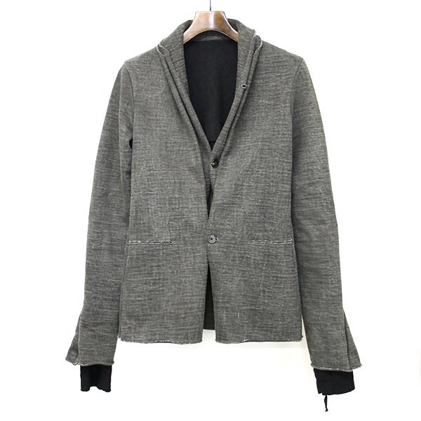 【中古】m.a+ エムエークロス レザーラインダブルレイヤードデザインジャケット グレー メンズ