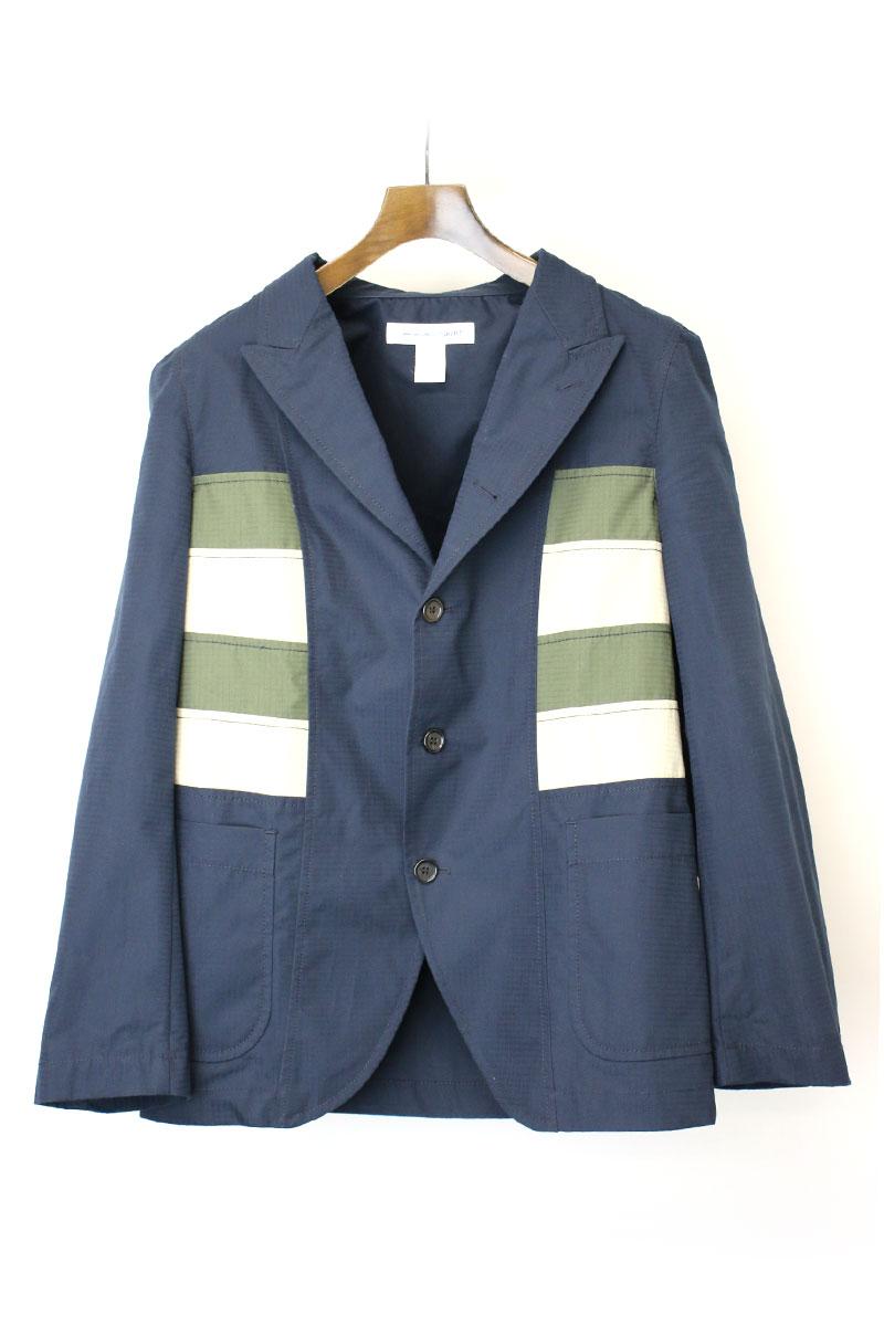 【中古】COMME des GARCONS SHIRT コムデギャルソンシャツ 18SS パネル切替コットンテーラードジャケット ネイビー S メンズ