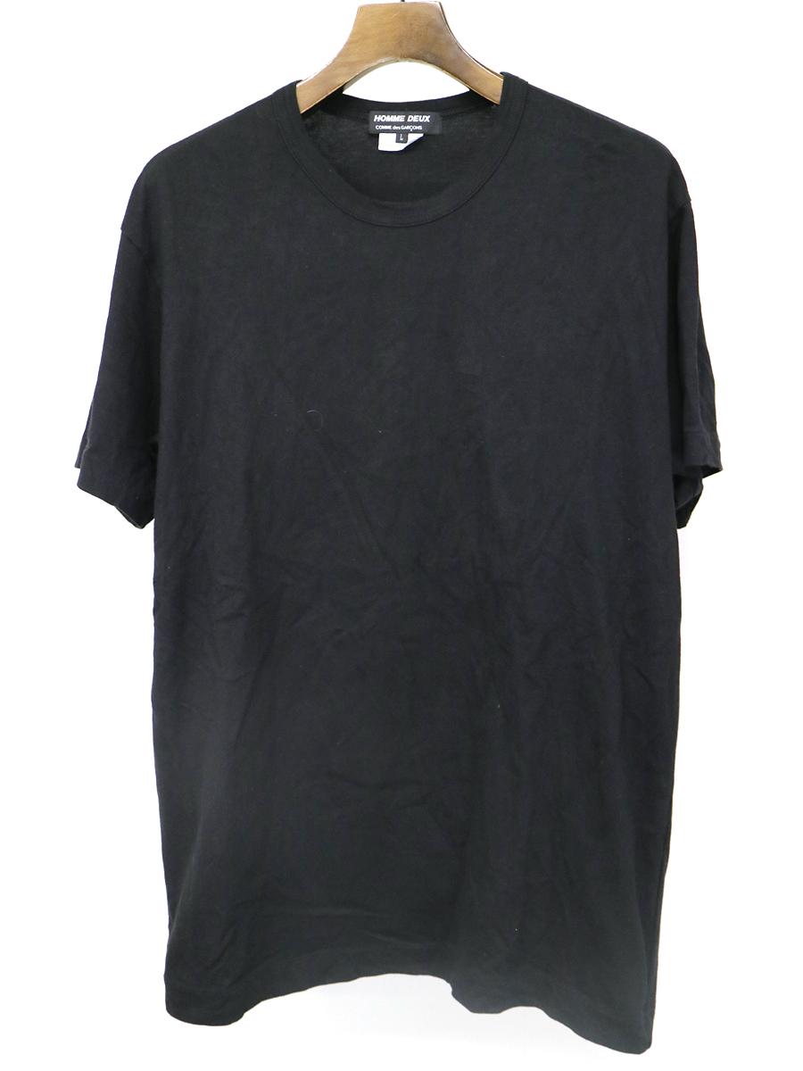 【中古】COMME des GARCONS HOMME DEUX コムデギャルソン オムドゥ 19AW ショルダーアイレットデザインTシャツ ブラック L メンズ
