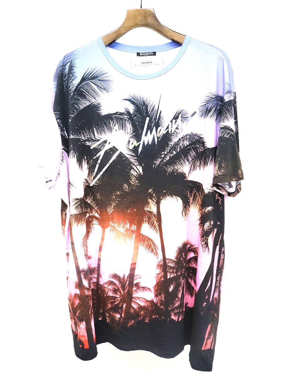 【中古】BALMAIN HOMME バルマン オム 19SS Sunset Print Oversized T-Shirt メタリックロゴデザインプリントTシャツ マルチカラー XL メンズ