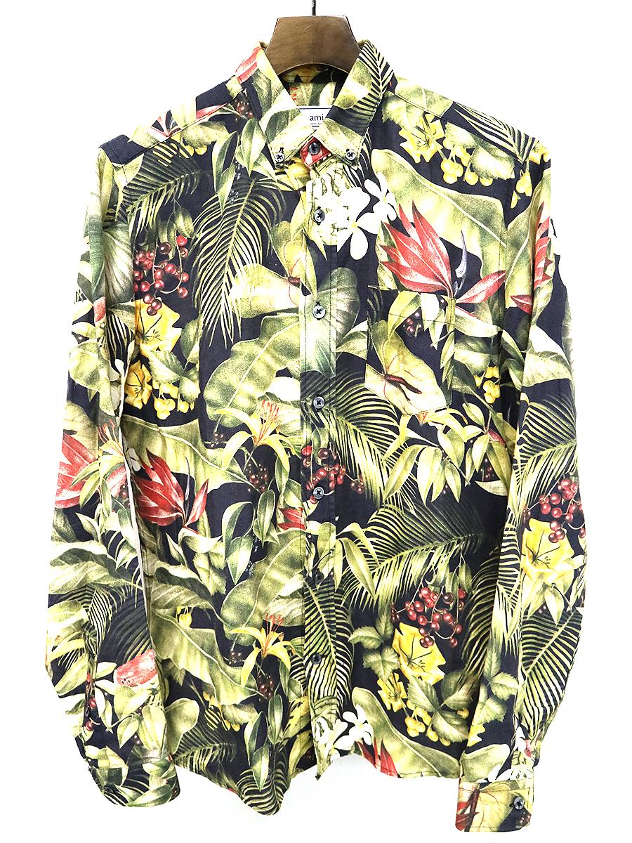 【中古】ami alexandre mattiussi アミ アレクサンドル マテュッシ 14SS ボタニカル柄コットンリネンB.Dシャツ ブラック 38 メンズ