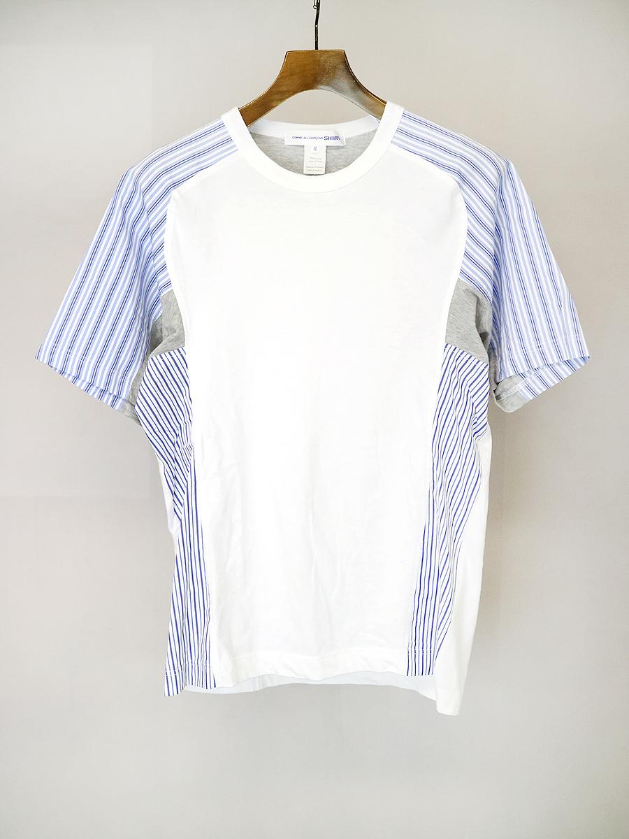 【中古】COMME des GARCONS SHIRT コムデギャルソン シャツ 16SS ストライプ切替クルーネックTシャツ ホワイト M メンズ