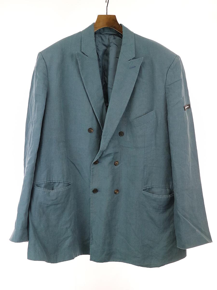 【中古】BALENCIAGA バレンシアガ 18SS LOOK5 ウォッシュドリネンダブルブレストオーバージャケット ブルー 48 メンズ