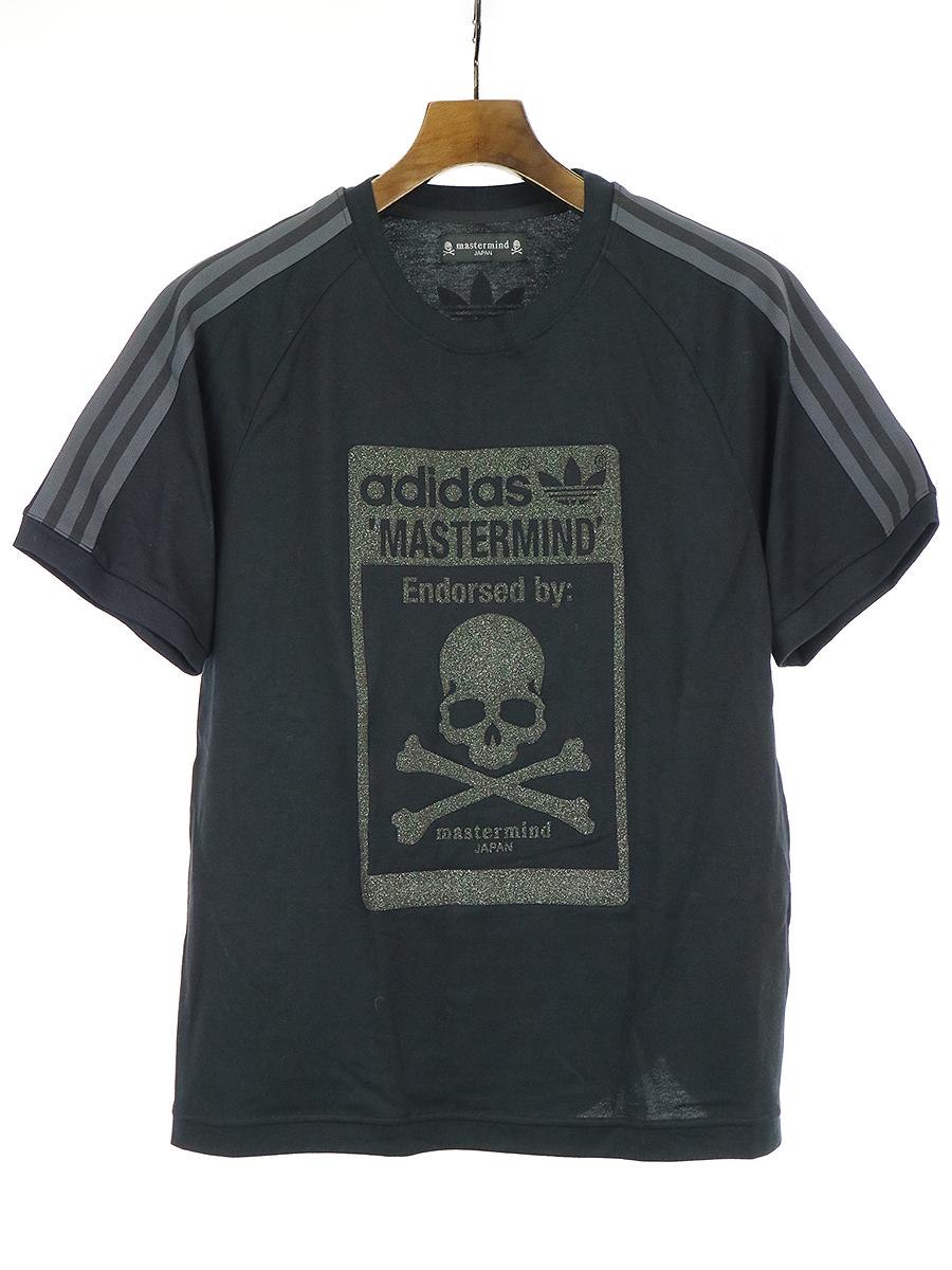 【中古】master mind JAPAN マスターマインドジャパン ×adidas 13SS LOGO 3LINE TEE ロゴ3ラインTシャツ ブラック L メンズ