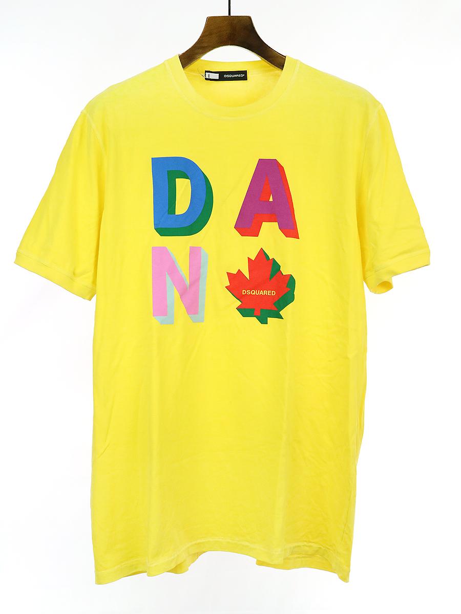 【中古】DSQUARED2 ディースクエアード プリントTシャツ イエロー XL メンズ