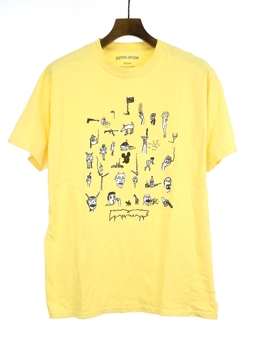 【中古】FUCKING AWESOME ファッキングオウサム クルーネックプリントTシャツ イエロー M メンズ
