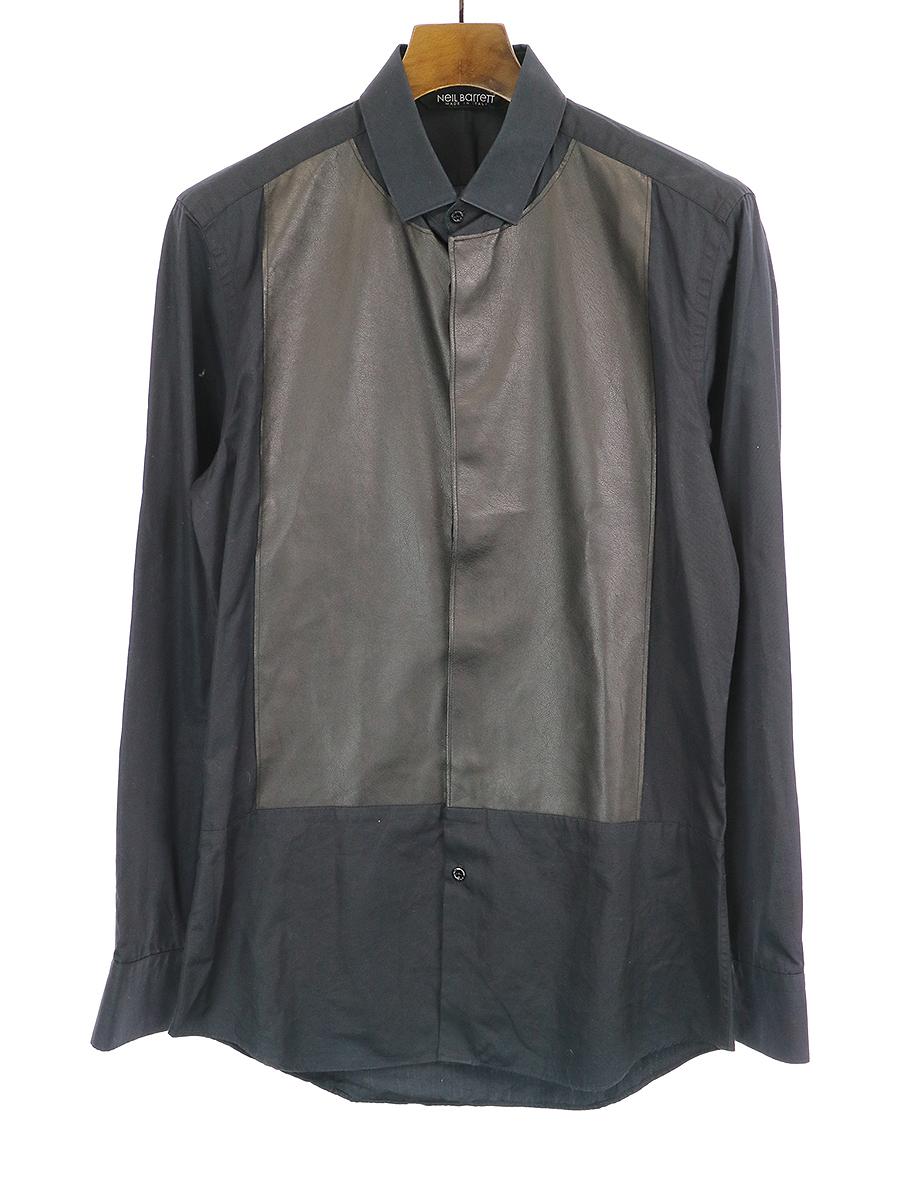 【中古】NEIL BARRETT ニールバレット フェイクレザー切替シャツ SKINNY FIT ネイビー 38 メンズ