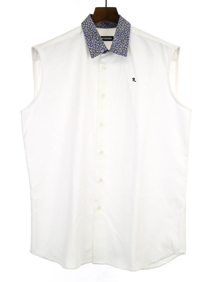 【中古】RAF SIMONS ラフシモンズ R刺繍ワイドシルエットフラワーカラーノースリーブシャツ ホワイト 46 メンズ