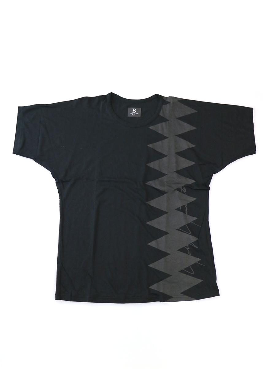 【中古】B Yohji Yamamoto ビー ヨウジヤマモト プリントクルーネックTシャツ ブラック 2 メンズ