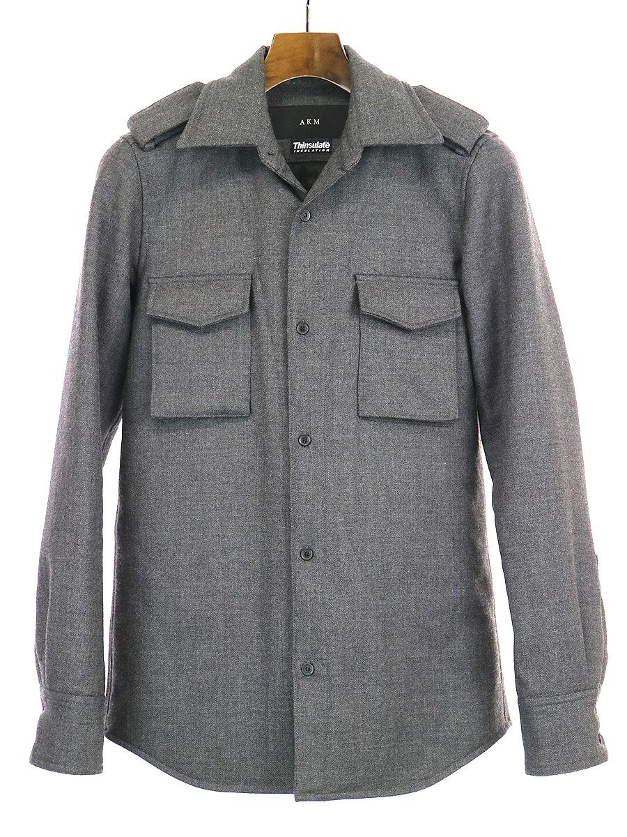 【中古】AKM エーケーエム thinsulate サイドポケット中綿ミリタリージャケット グレー M メンズ